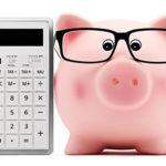 Calculator and piggy bank