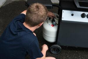 Checking propane cylinder