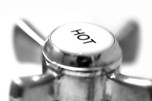 Hot water faucet knob