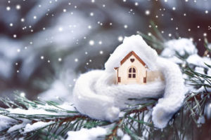House with scarf in the winter
