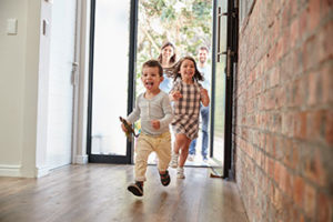 Kids entering house