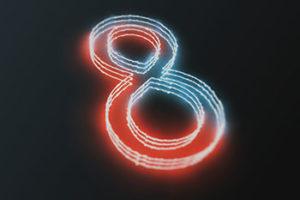Neon number 8